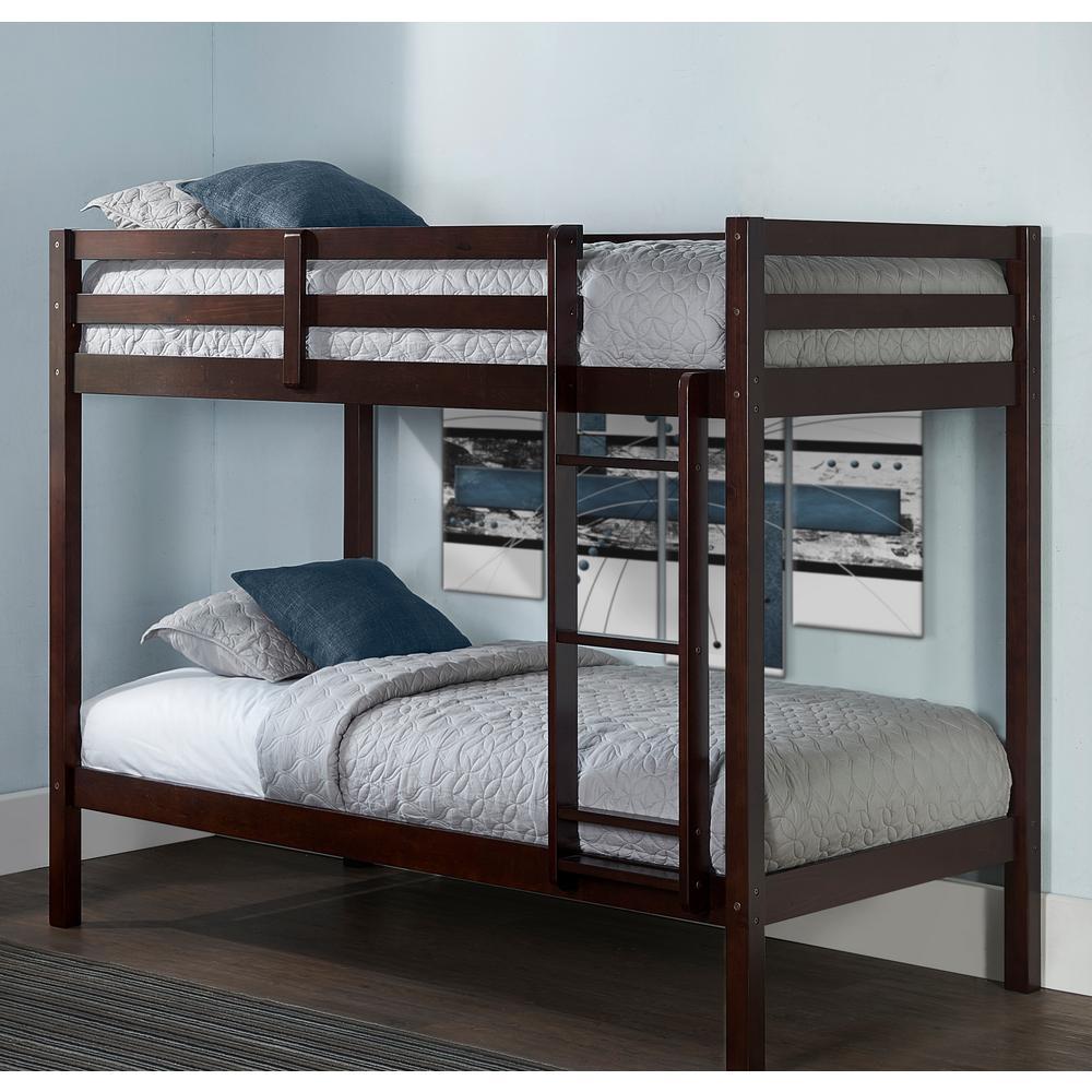 Caspian Chocolate Twin over Twin Bunk Bed