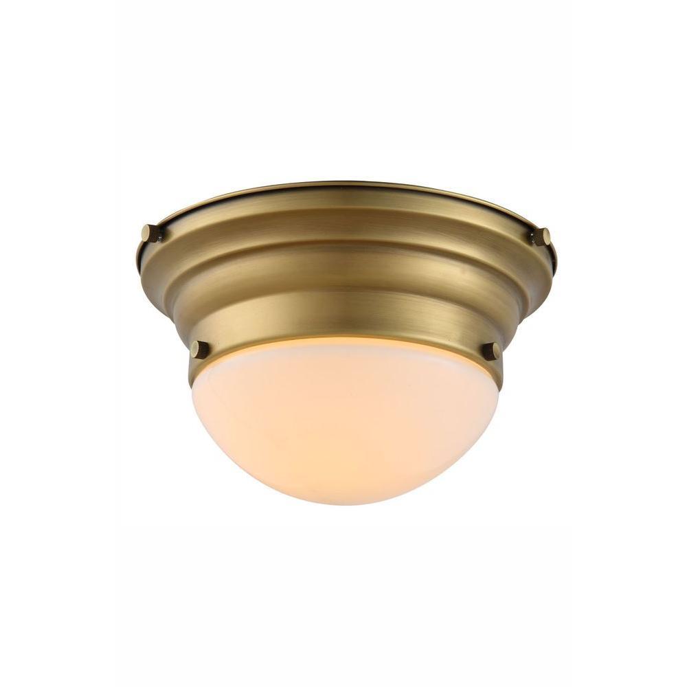 Daisy 1-Light Burnished Brass Flush Mount