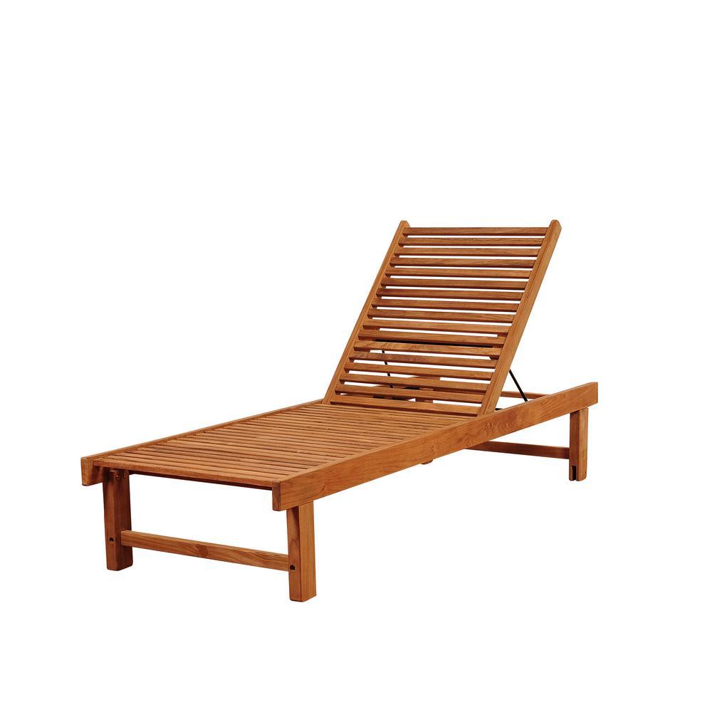 Amazonia Nias Armless Foldable Teak Outdoor Lounge Chair