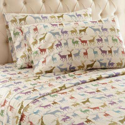4-Piece Colorful Deer California King Polyester Sheet Set