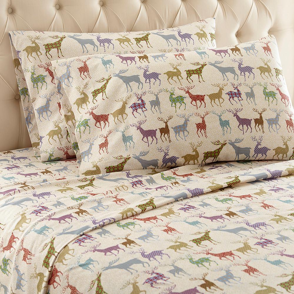 4-Piece Colorful Deer Queen Polyester Sheet Set