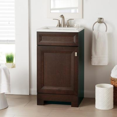 Sedgewood 18-1/2 in. W Bath Vanity in Dark Cognac with Solid Surface Technology Vanity Top in Arctic with White Sink