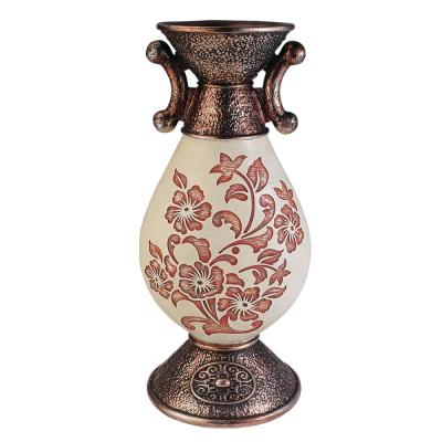 Floral Ivory and Bronze Polyresin Decorative Vase