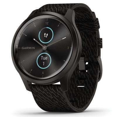 vívomove Style Hybrid Smart Watch in Graphite Aluminum Case with Black Pepper Woven Nylon Band