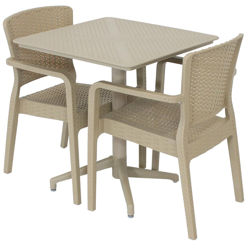 Sunnydaze Decor All Weather Segonia 3 Piece Plastic Indoor Outdoor Coffee Table And Chairs Set Tla 842 032 2 The Home Depot