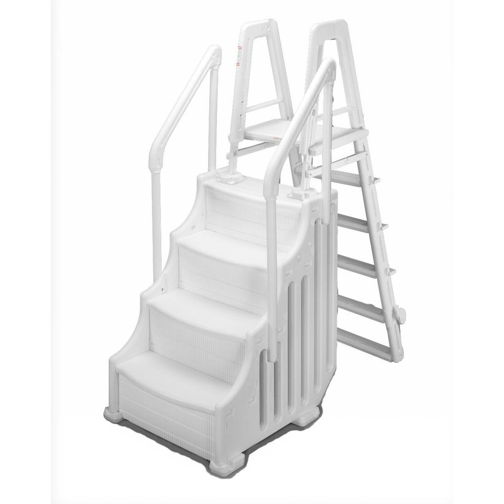 Blue Wave Simple Step 24 in. Step with Ladder for Above Ground Pools