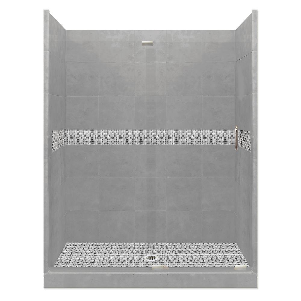 Del Mar Grand Slider 34 in. x 60 in. x 80 in. Center Drain Alcove Shower Kit in Wet Cement and Satin Nickel Hardware