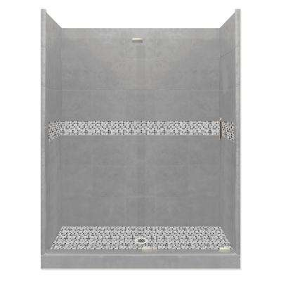 Del Mar Grand Slider 36 in. x 60 in. x 80 in. Center Drain Alcove Shower Kit in Wet Cement and Satin Nickel Hardware