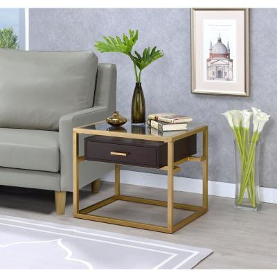 Yumia Gold and Glass Rectangular End Table