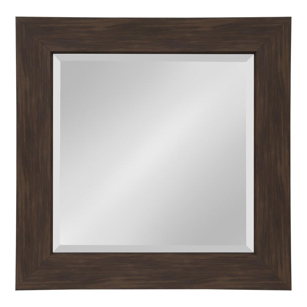 Kate and Laurel Boardwalk Rectangle Walnut Brown Wall Mirror 214023