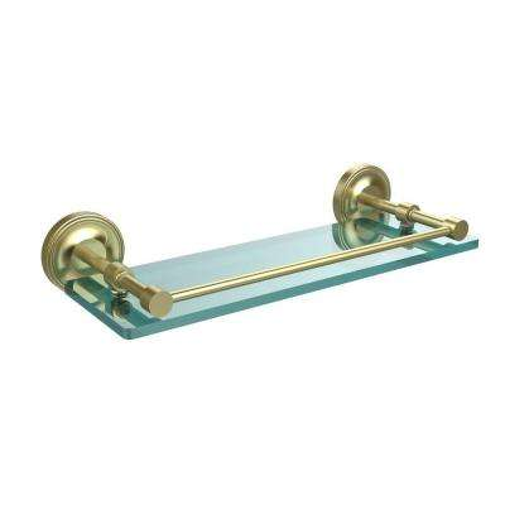 Prestige Regal 16 in. L x 3 in. H x 5 in. W Clear Glass Bathroom Shelf with Gallery Rail in Satin Brass