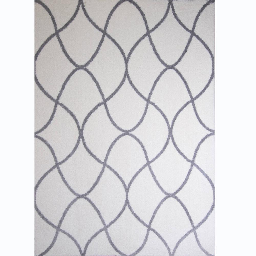 Ramapo Ivory/Gray Microfiber Shag 3 ft. 3 in. x 4 ft.