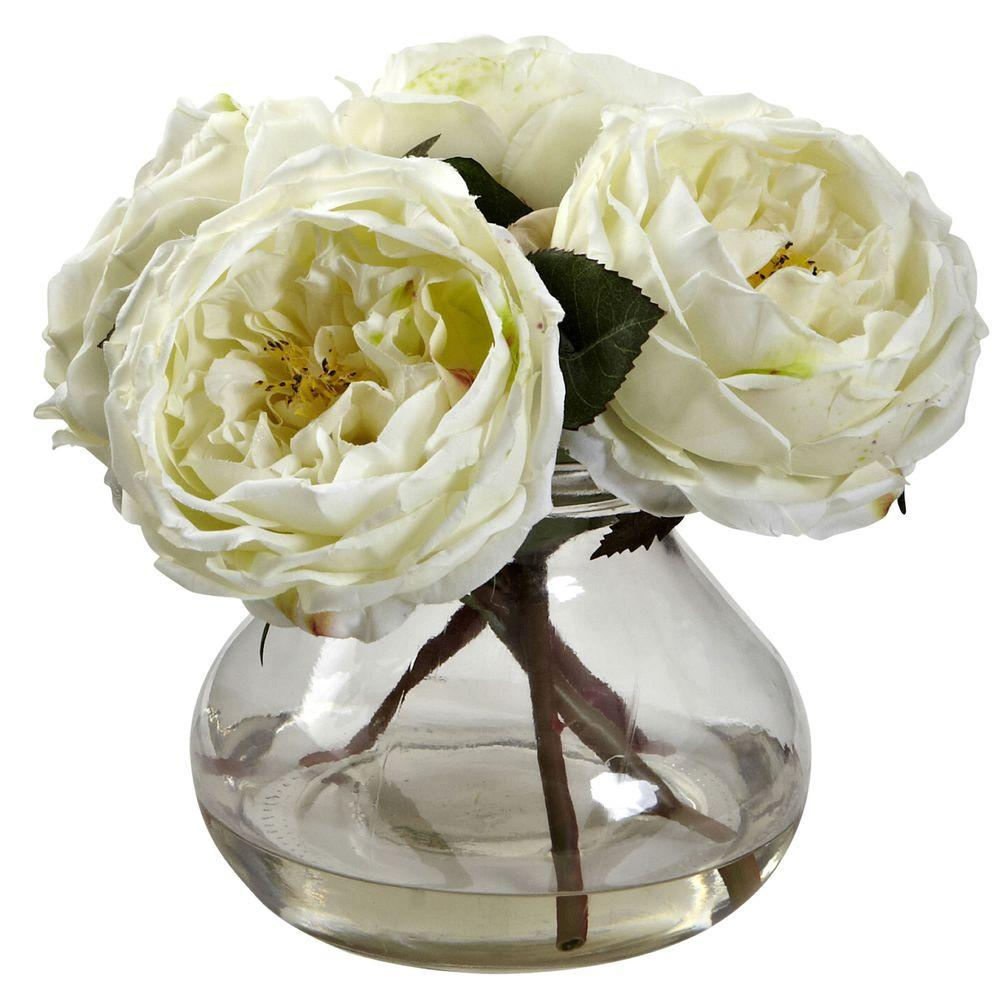 Nearly Natural Fancy Rose With Vase 1391 Wh The Home Depot