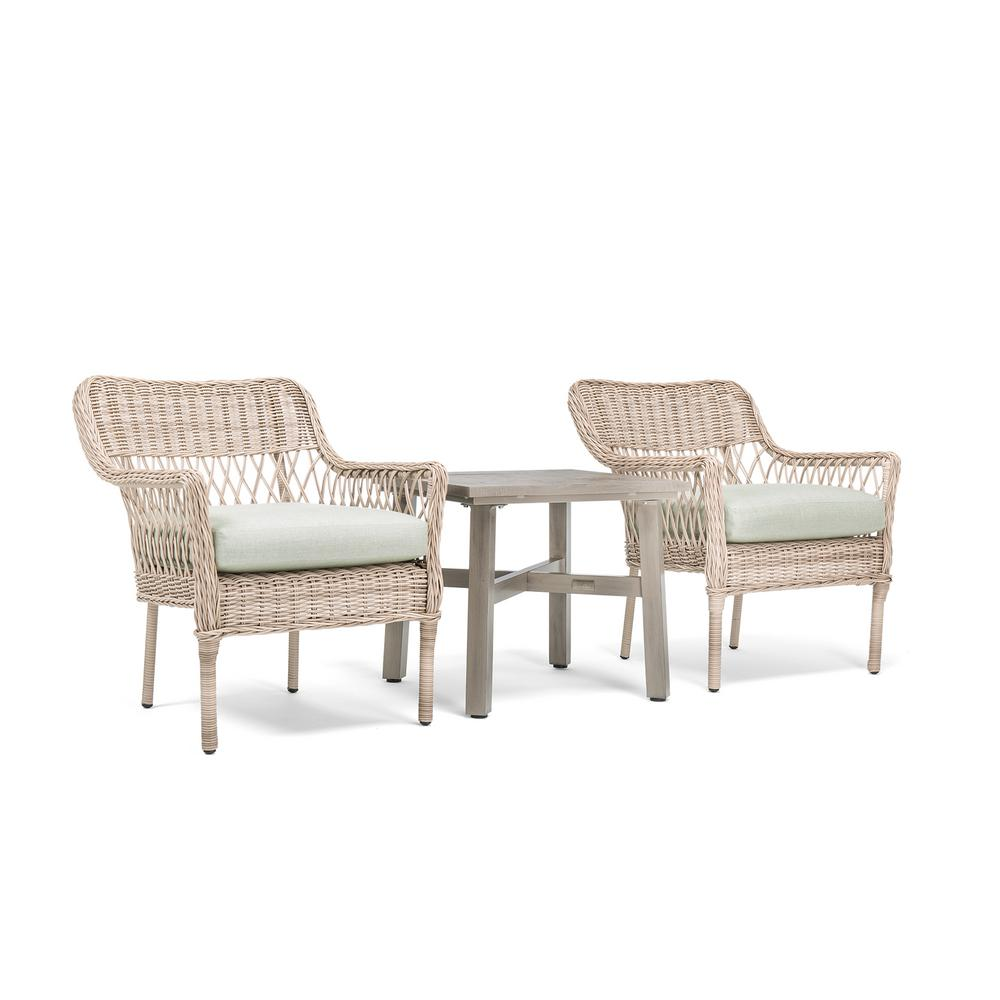 Colfax Wicker 3-Piece Outdoor Bistro Set with Sunbrella Cast Oasis Cushion