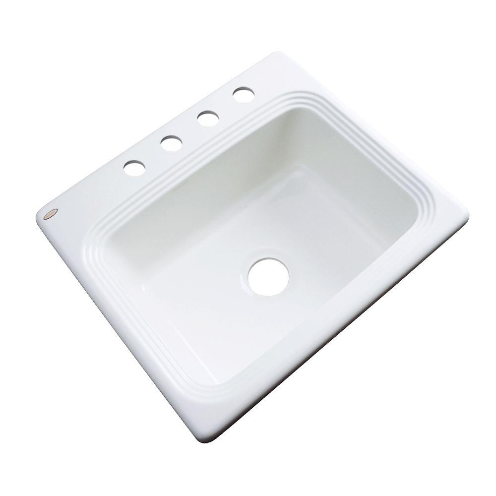 Thermocast Rochester Drop-In Acrylic 25 in. 4-Hole Single Basin Kitchen Sink in White