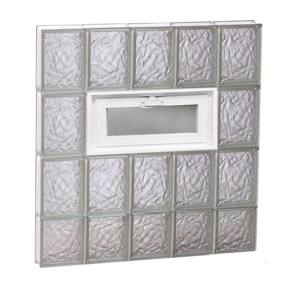 Clearly Secure 28.75 in. x 29 in. x 3.125 in. Frameless Ice Pattern Vented Glass Block Window