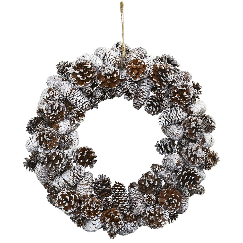 Nearly Natural Snowy Pine Cone Wreath