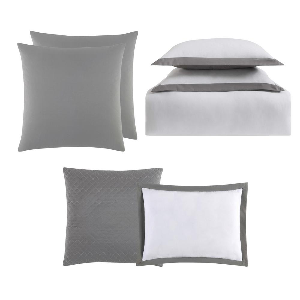 Everyday Hotel Border Gray 7 Piece Full / Queen Duvet Set