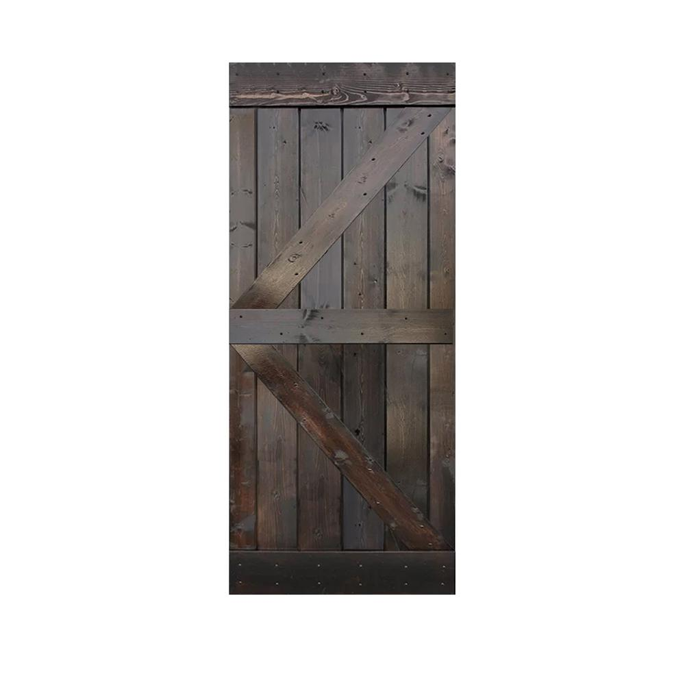 CALHOME 36 in. x 84 in. Knotty Pine Solid Wood Interior Barn Door Slab, Dark Coffee was $399.0 now $259.0 (35.0% off)