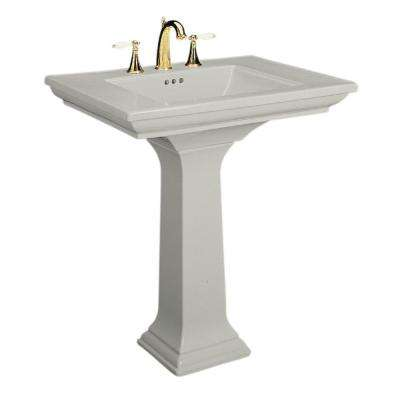 Memoirs Ceramic Pedestal Combo Bathroom Sink in Ice Grey with Overflow Drain