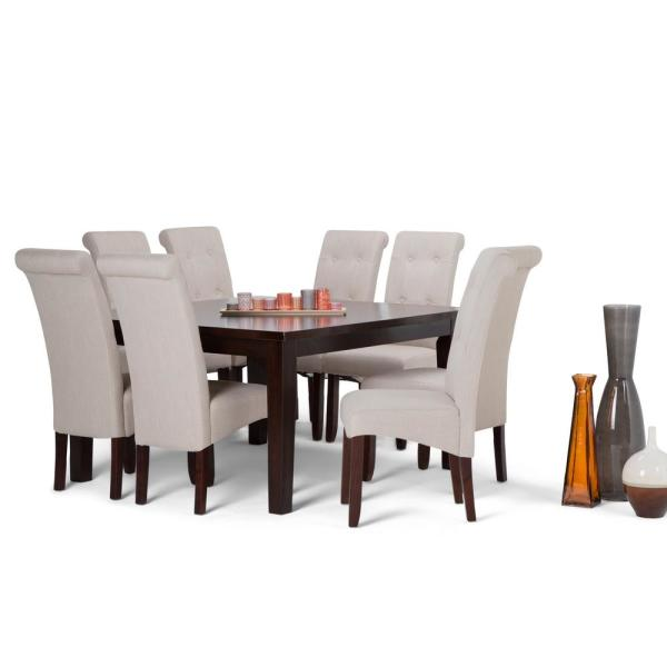 Simpli Home Cosmopolitan 9 Piece Dining Set With 8 Upholstered Dining Chairs In Natural Linen Look Fabric And 54 In Wide Table Axcds9 Cos Nl The Home Depot