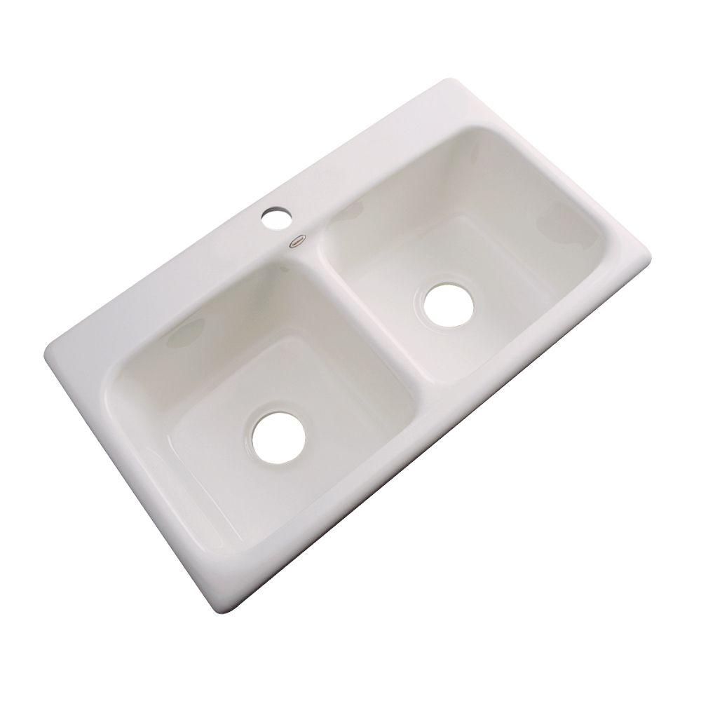Thermocast Brighton Drop-In Acrylic 33 in. 1-Hole Double Basin Kitchen Sink in Natural