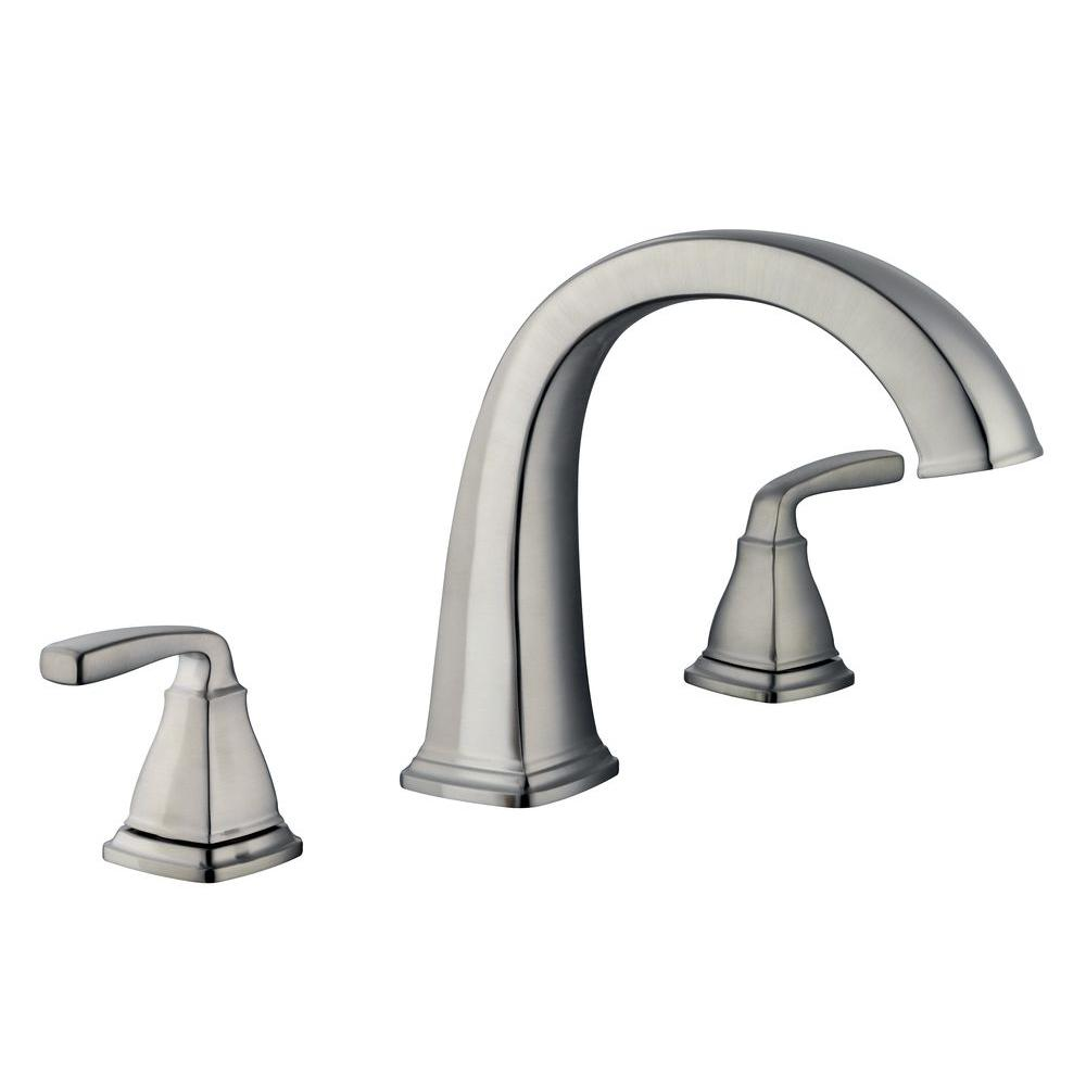 Belle Foret Mason 2 Handle Deck Mount Roman Tub Faucet In Brushed Nickel