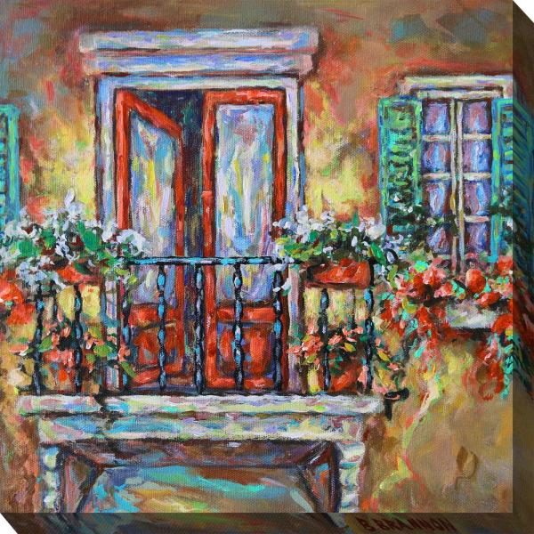 24 In X 24 In Blooming Balcony Outdoor Canvas Wall Art