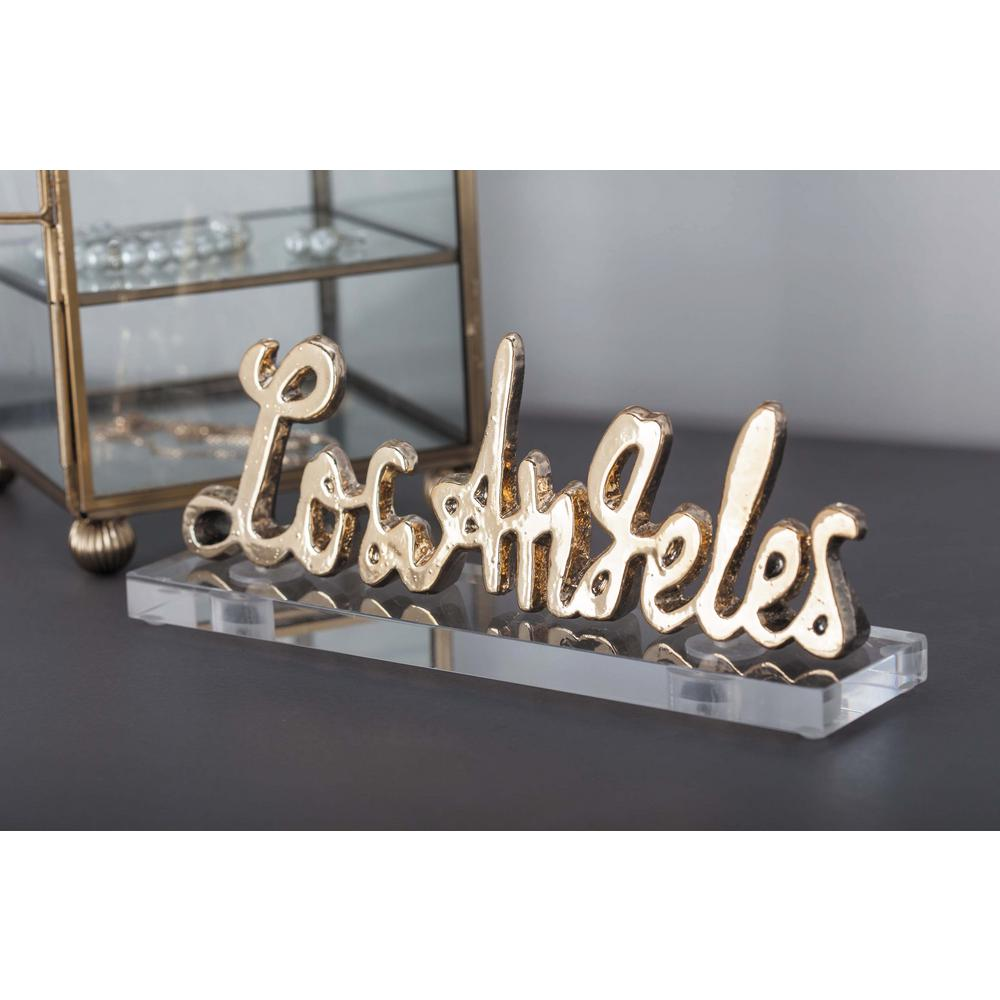 """8 in. x 2 in. Modern """"Los Angeles"""" Gold and Silver"""
