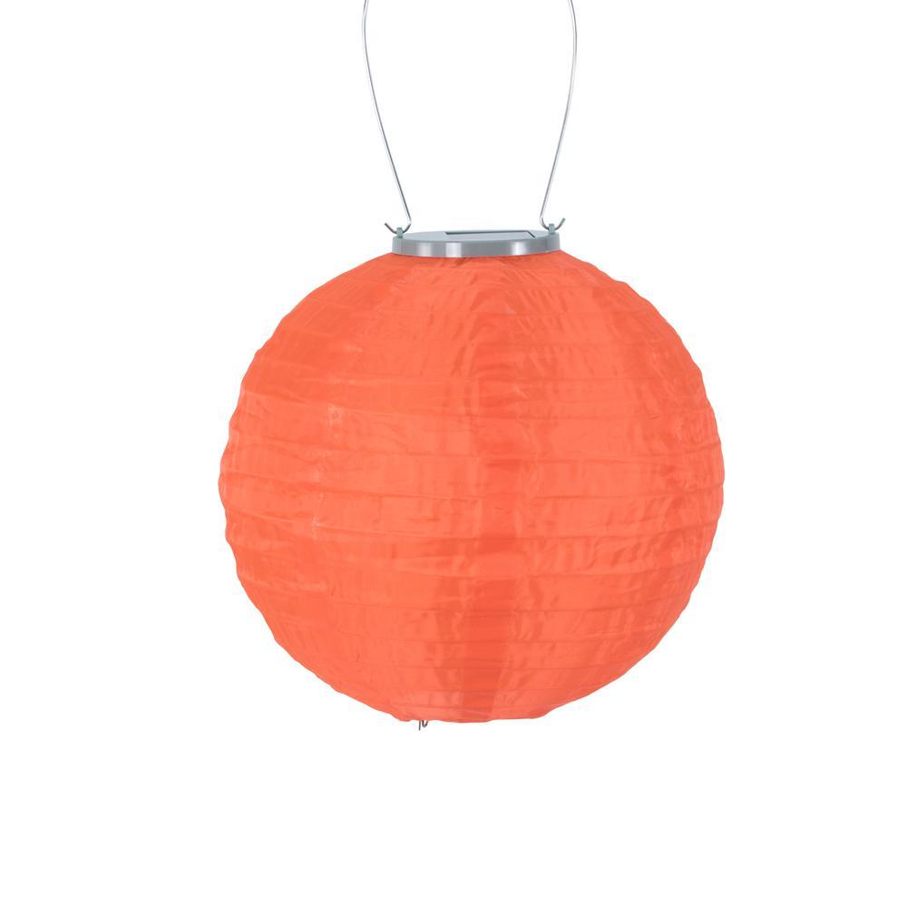 Glow 10 in. Orange Round Nylon Integrated LED Hanging Outdoor Solar Lantern