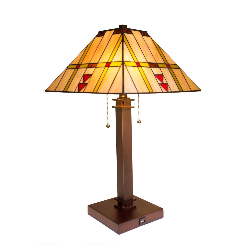 River of Goods 24.25 in. Amber Table Lamp with Stained Glass Shade