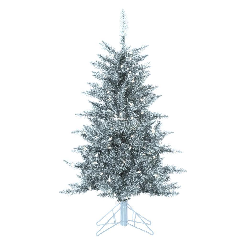 4 ft. Pre-Lit Silver Tuscany Tinsel Christmas Tree