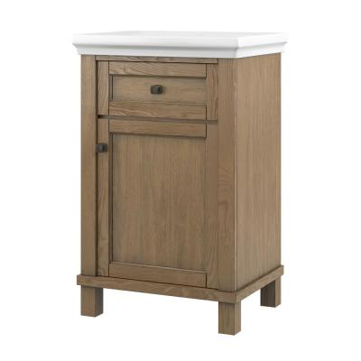 Hazel 24 in. W x 18 in. D Bath Vanity in Bleached Pine with Vanity Top in White with White Basin