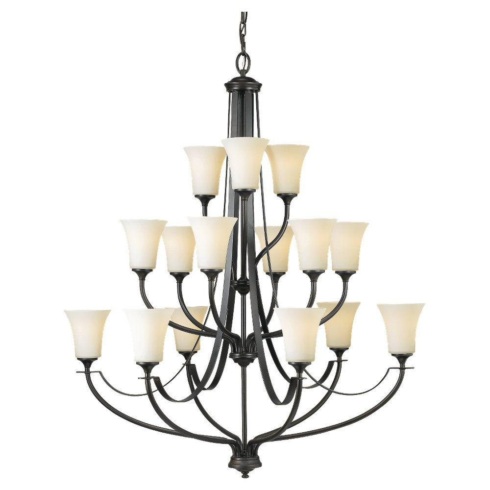 Sea Gull Lighting Barrington 38 in. W. 15-Light Oil Rubbed Bronze Multi-Tier Chandelier with Opal Etched Glass Shades