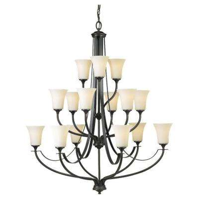 Barrington 38 in. W. 15-Light Oil Rubbed Bronze Multi-Tier Chandelier with Opal Etched Glass Shades
