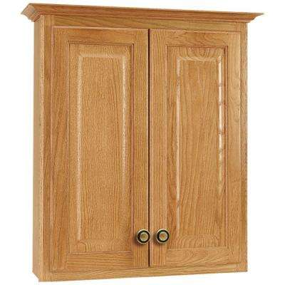 Hampton 25 in. W x 29 in. H x 7-1/2 in. D Bathroom Storage Wall Cabinet in Oak
