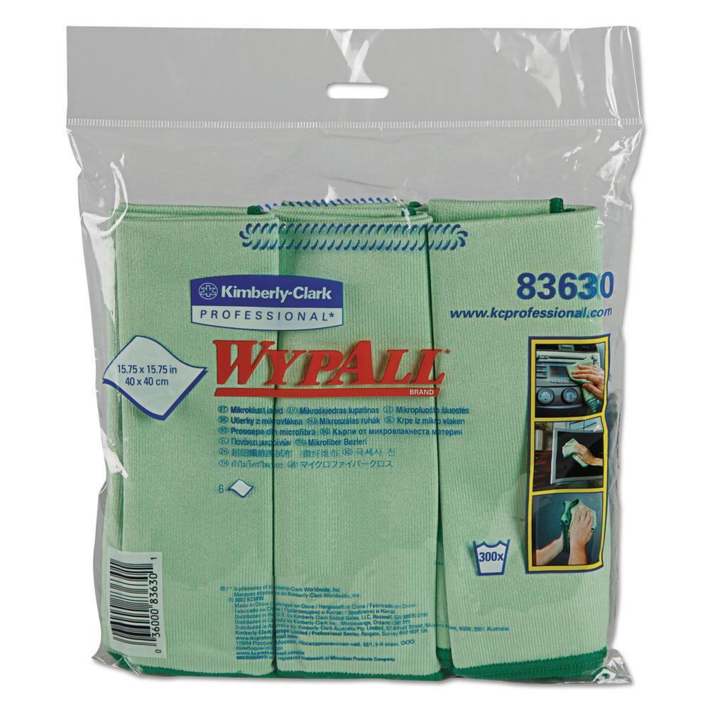 15 3/4 x 15 3/4 Microfiber Cloths, Reusable, Green, (24 Per Carton)