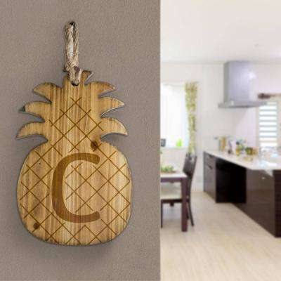 Wood Pineapple Hanging Initial Wall Letter C