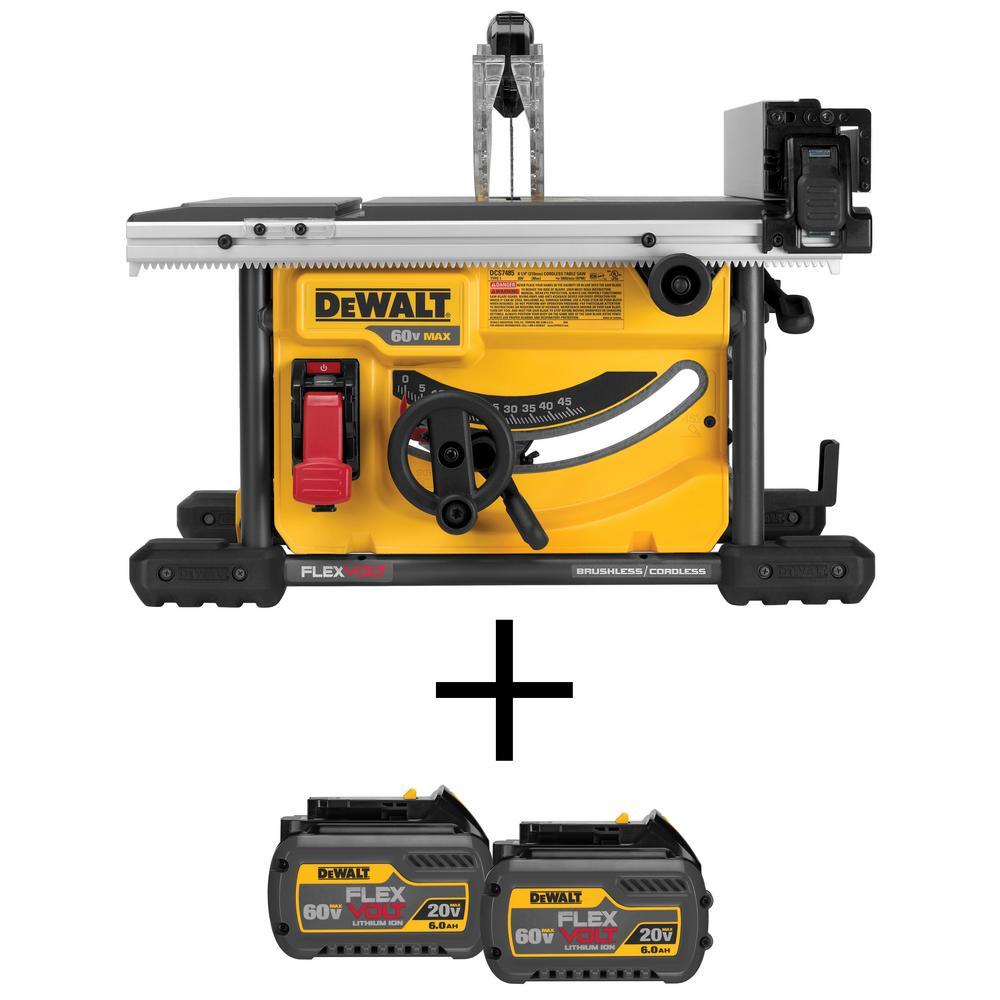 DEWALT FLEXVOLT 60-Volt MAX Li-Ion Cordless Brushless 8-1/4 in. Table Saw (Tool-Only) with Bonus FLEXVOLT Battery Pack (2-Pack)