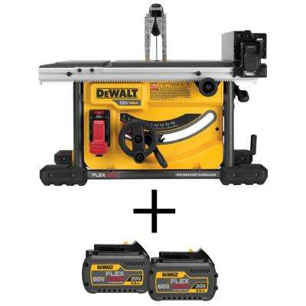 FLEXVOLT 60-Volt MAX Li-Ion Cordless Brushless 8-1/4 in. Table Saw (Tool-Only) with Bonus FLEXVOLT Battery Pack (2-Pack)