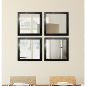 15.5 inch x 15.5 inch Black Smoke Square Wall Mirrors (Set of 4) by