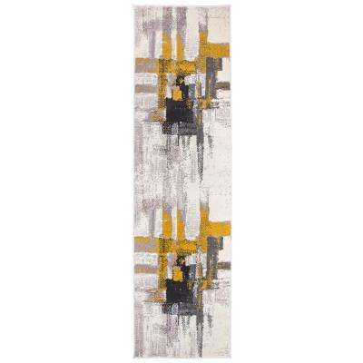 Modern Contemporary Abstract Gold 2 ft. x 7 ft. Indoor Runner Rug