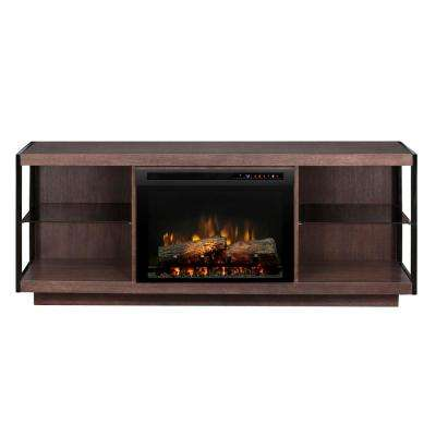 Leif 66 in. Freestanding Electric Fireplace TV Stand Media Console in Turbinado Brown