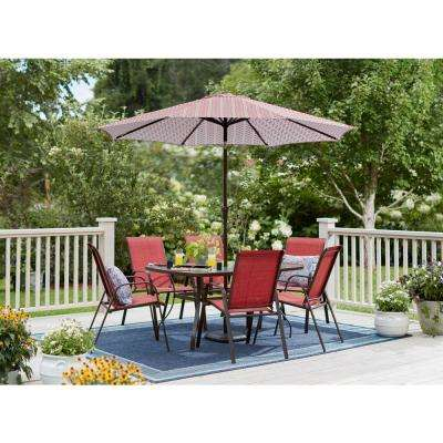 Mix and Match Brown Stackable Sling Outdoor Dining Chair in Chili (2-Pack)