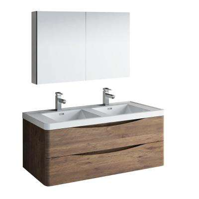 Tuscany 48 in. Modern Double Wall Hung Vanity in Rosewood with Vanity Top in White with White Basins, Medicine Cabinet