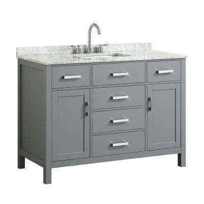 Hampton 49 in. W x 22 in. D Bath Vanity in Grey with Marble Vanity Top in White with White Basin