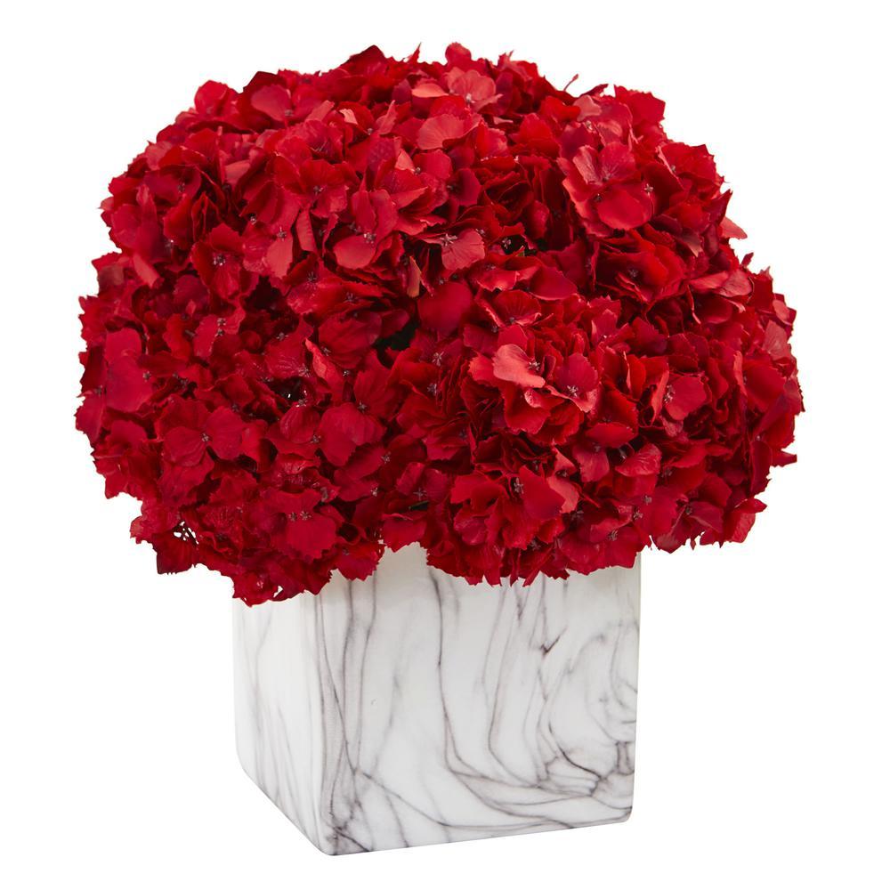 Nearly Natural Indoor Red Hydrangea Artificial Arrangement in Marble Vase