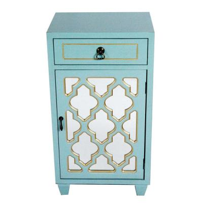 Shelly Assembled 16.75 in. x 16.75 in. x 12.75 in. Light Blue Wood Glass Accent Storage Cabinet