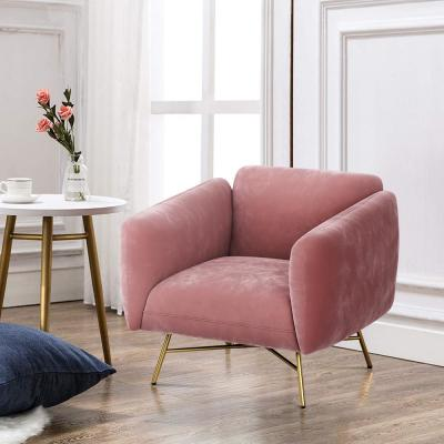 Accent Chair Velvet Fabric Fashionable Upholstered Lounge Chair Pink