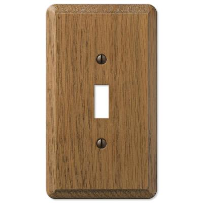 Contemporary 1 Gang Toggle Wood Wall Plate - Medium Oak
